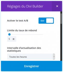 Divi French TestA/B Reglages