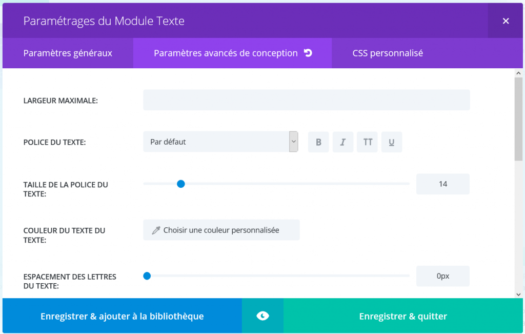 Extra French parametres avances module